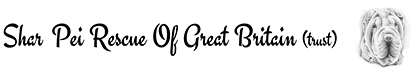Caligraphy text showing support to the Shar Pei Rescue Of Great Britain.